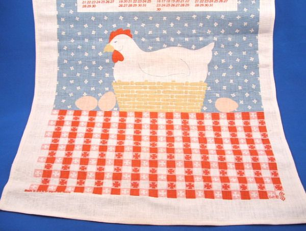 1986 Setting Hen in Basket Linen Calendar Towel MN