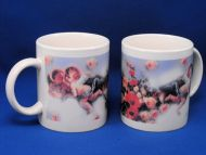 Cherub Angel Pink Blue Flowers 2 Mug Lot
