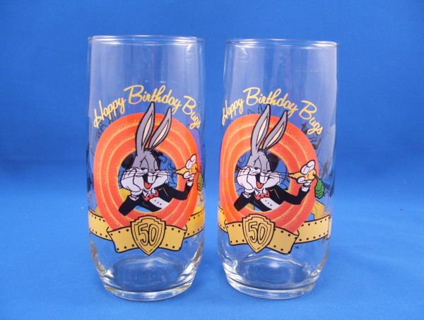 BUGS BUNNY Happy 50th Birthday 2 Glass Lot NM