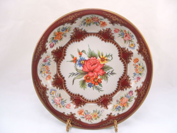 1971 DAHER Pink Flowers Round Tin Bowl NM