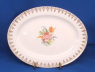 Knowles Floral Bouquet Gold Filigree Swag Lg Platter