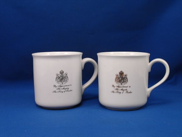 Gevalia By Appointment to His Majesty WHITE 2 Mug Lot MN