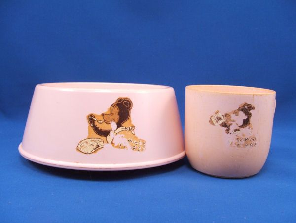 1940s TOMMEE TIPPEE Pink Bear Cup and Bowl