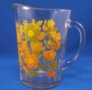 Vintage Glass PITCHER Yellow Orange Green Flowers